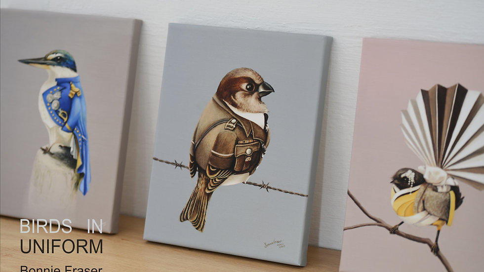 Birds in Uniform mini Canvas Prints