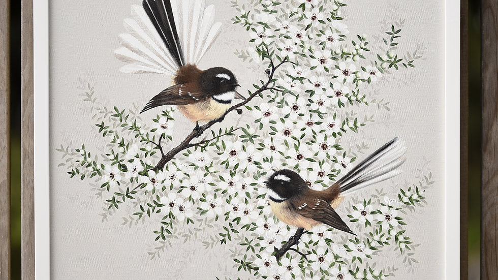 Fantails and Manuka Flowers Original oil painting