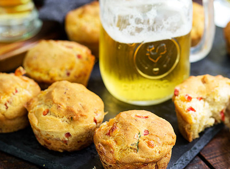 Gluten-Free Savory Beer Pimento Cheese Muffins