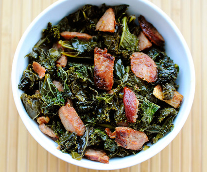 sweet and salty kale with spicy sausage