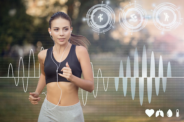 Young jogger with earphones exercising a