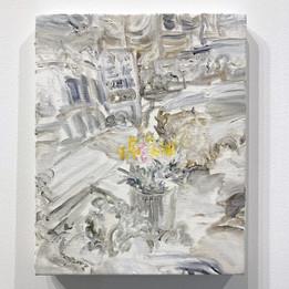 王将とチューリップ  2020 333 × 242mm  キャンバスにアクリル、油彩、パステル  ¥34545(税別)