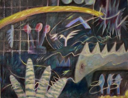 岩崎奏波 KANAHA IWASAKI  「夜は眠るきまり」 キャンバスに油彩 227×158mm 2021 ¥15000 (税抜)