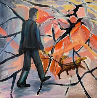 金海生 JIN HAISHENG 「A man with dog4」 キャンバスに油彩  410×410mm 2021 60000 税別