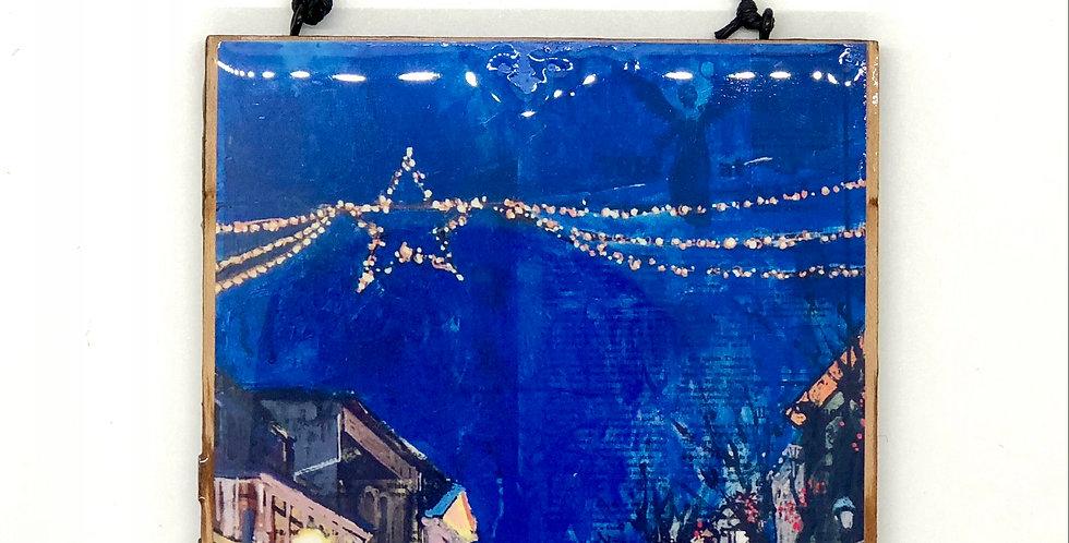 White Christmas on Bridge Ornament