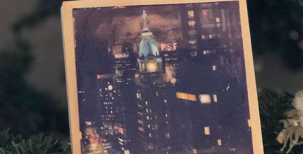City Hall at Night Art Ornament