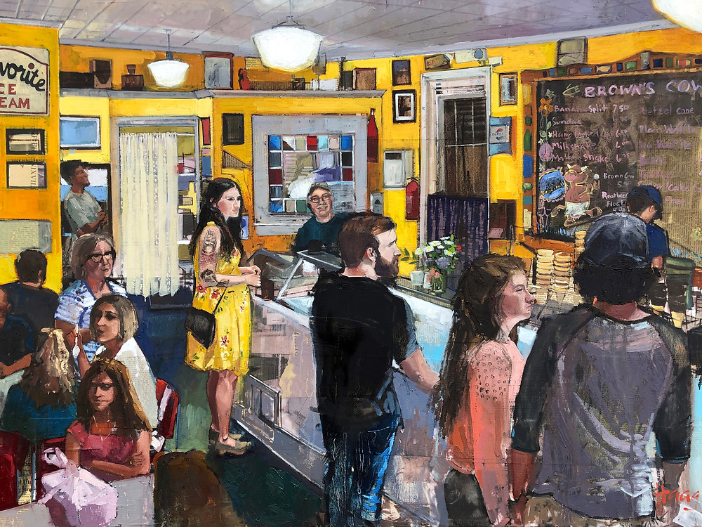 oil painting by Teresa Haag of Browns Cow Ice Cream Show in Downtown Phoenixville, PA
