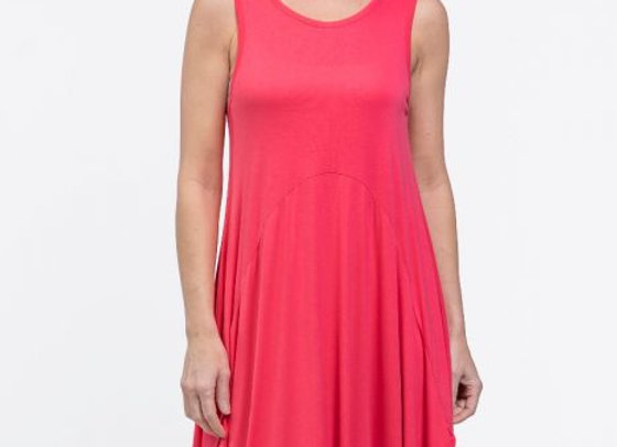 Red Coral Bubble Tunic Dress