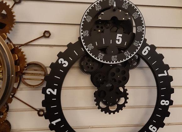 Clock- Black & White/Moving gears