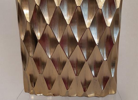 Gold Metal Oval Geometric Vase
