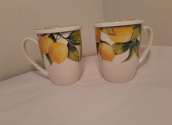 Covered Mug-Lemon  Design