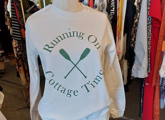 White Sweatshirt-Running on Cottage Time