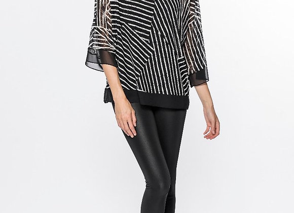 Red Coral Oversize Striped Mesh Top