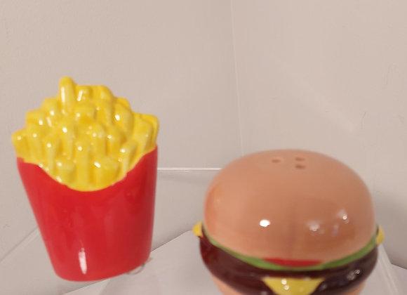 Salt & Pepper Shakers-Hamburger & Fries