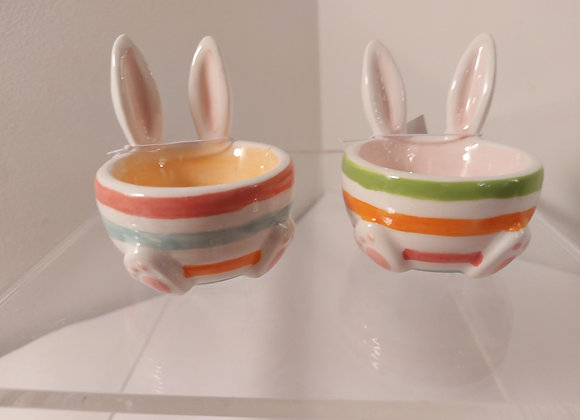 Striped Bunny Egg Cups