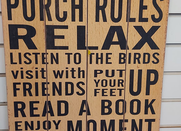 Sign- Porch Rules