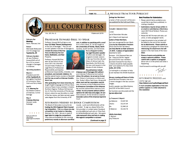 Washington County Bar Newsletter