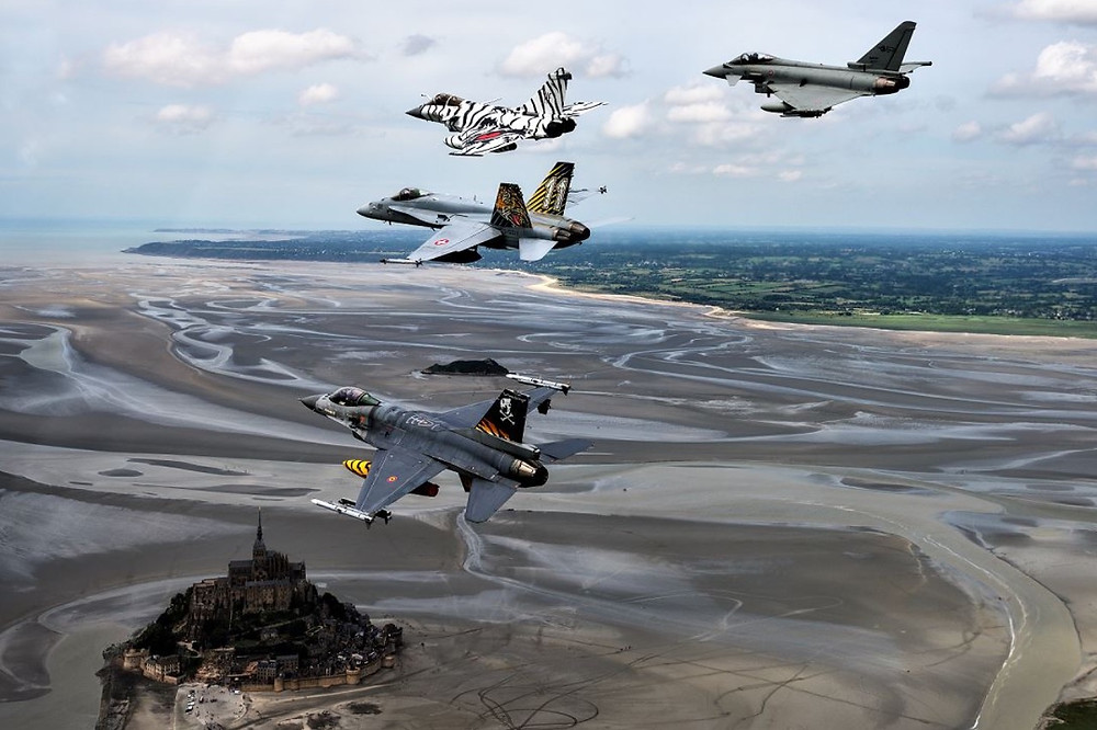 French, Swiss, Belgian and Italian Tigers over Mont St. Michel