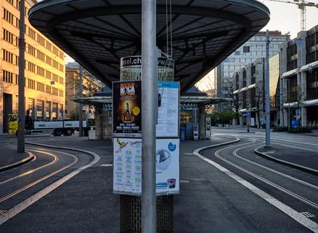 Lockdown Photo Serie, Aeschenplatz, Basel Schweiz