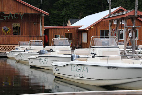 Legacy Lodge boats at the lodge in Rivers Inlet