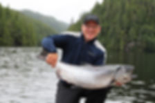 Legacy Lodge guest with coho