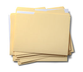 Group of Stacked Files Top View Isolated