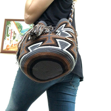 Brown & White Wayuu bag