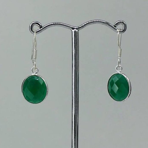 Beautiful Green Agate 925 sterling silver oval faceted earrings