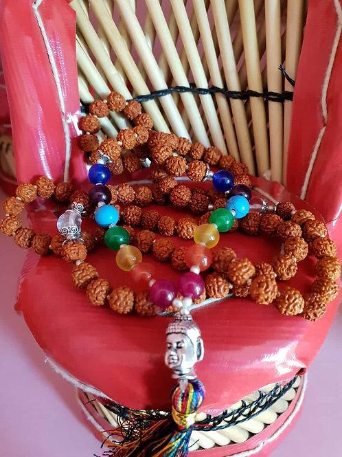 Genuine 5 Mukhi Rudraksh Seven Chakra Mixed Quartz and Sphathik Mala