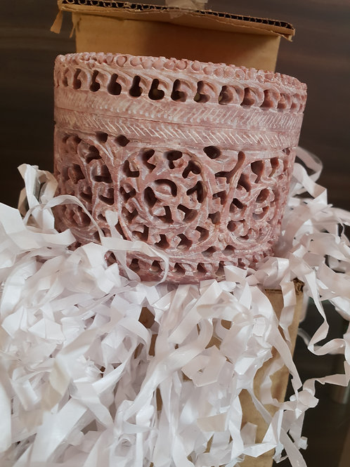 Handmade Floral Carving Marble Jewellery Box with jali/Lattice work