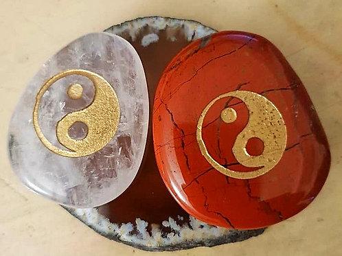 Ying Yang Reiki Stone  pair - Red Jasper & Clear Quartz