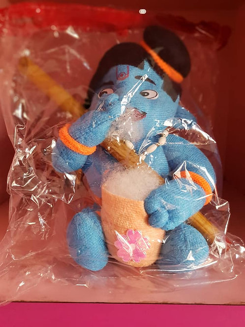 Stuffed Soft Toy Krishna Eating Butter with Flute - Two size