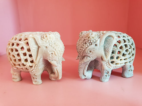 Handmade Marble Elephant with Carving with Baby-Elephant Inside and jali/Lattice