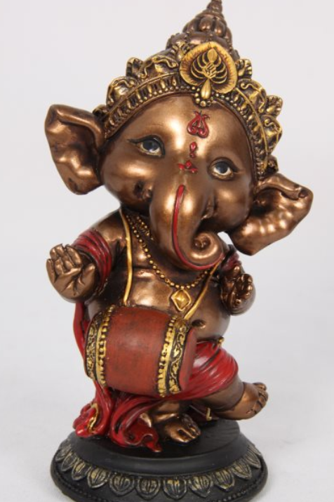 16cm Dancing Red And Bronze Ganesh