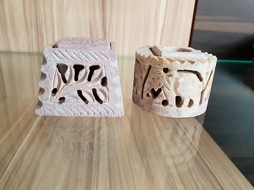 Handmade Marble Candle/Incense Holder with fine details of Jali/Lattice work