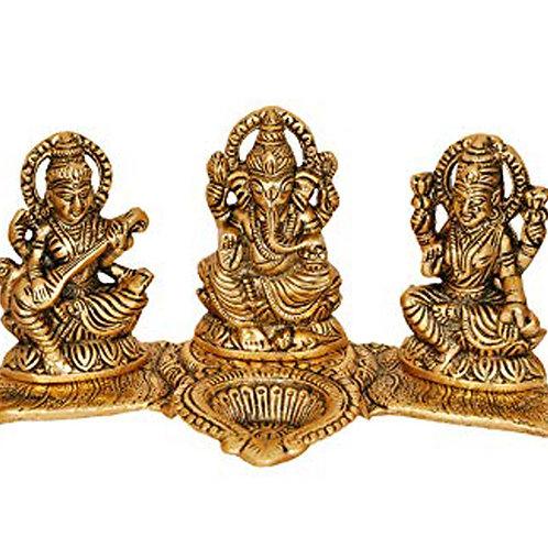 Gold Laxmi-Ganesha-Saraswati Set/Tea light holder.