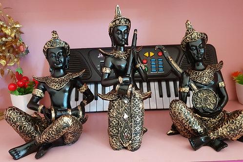 Antique Music instrument playing Buddha - Three Pose