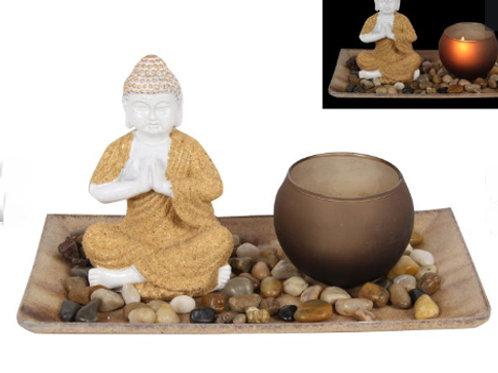 21CM MEDITATING BUDDHA TEALIGHT HOLDER
