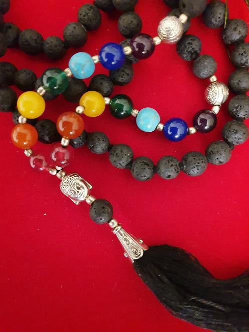 Seven Chakra and Lava Stone Mala Beads with Buddha head