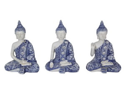 Household 13CM Blue Buddha with Willow pattern & Siver Gems