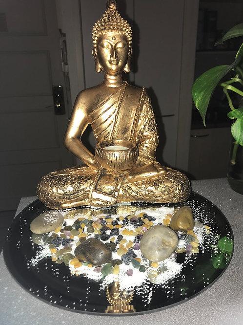 Zen Garden with 26CM Meditative Buddha TeaLight Holder, mixed cystal chips