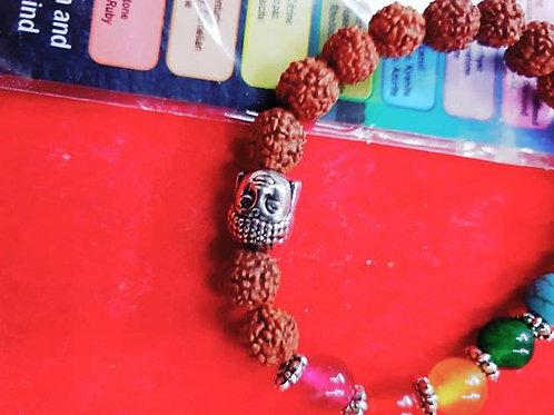 Genuine 5 mukhi Rudraksha with seven chakra mixed Quartz stone bracelet