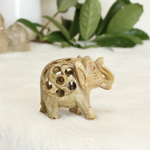 Handmade Soapstone Elephant with Carving with Baby-Elephant Inside for healing