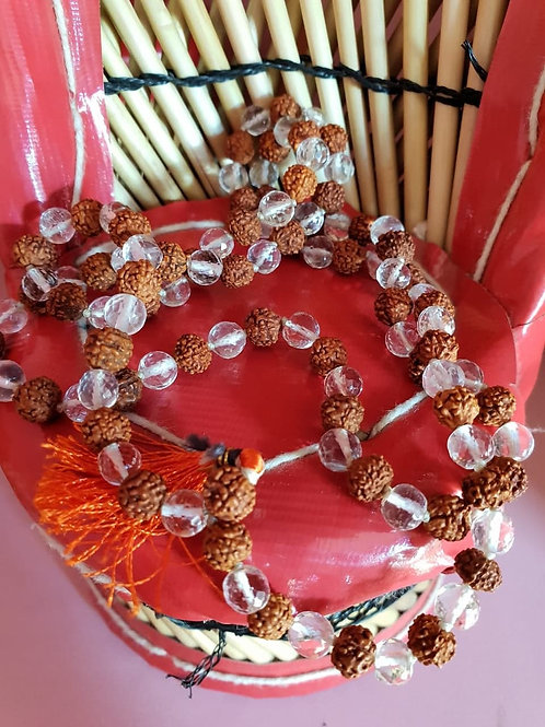 Genuine 5 Mukhi Rudraksh and Sphatik(Quartz Crystal) stone Mala