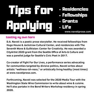 Part I: Tips for Residencies, Grants, & Fellowships