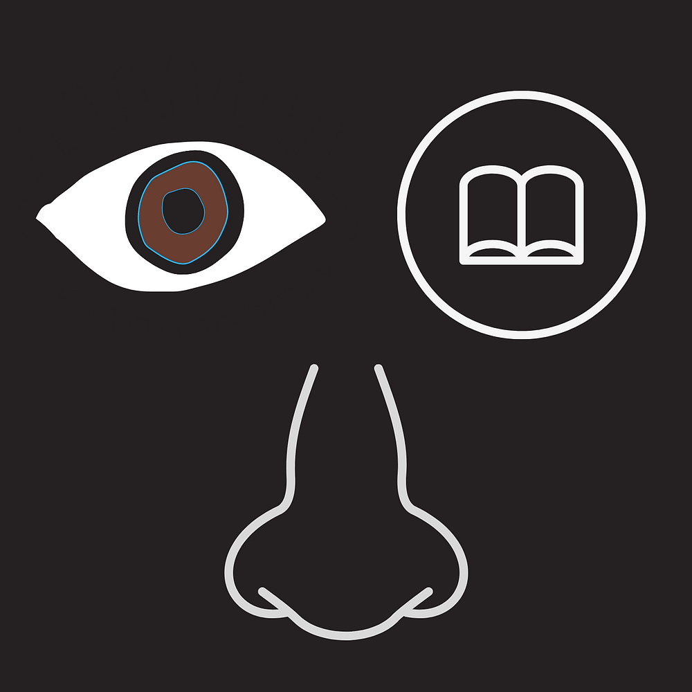 Graphic of one brown eye and a book replacing the other eye with a nose underneath