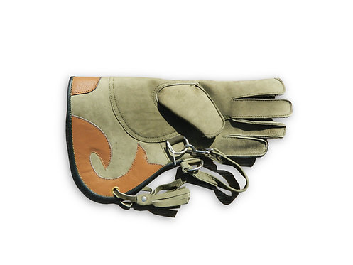 Double Layer Nubuck Leather Falconry Glove with Safety Clip