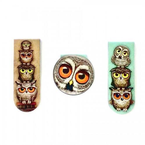Book Owls Magnetic Bookmark Set