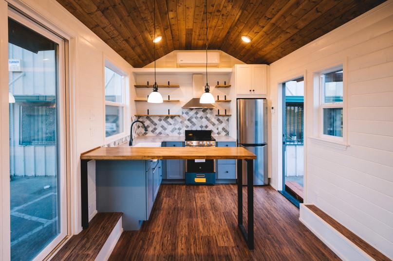 10' wide luxury tiny house kitchen