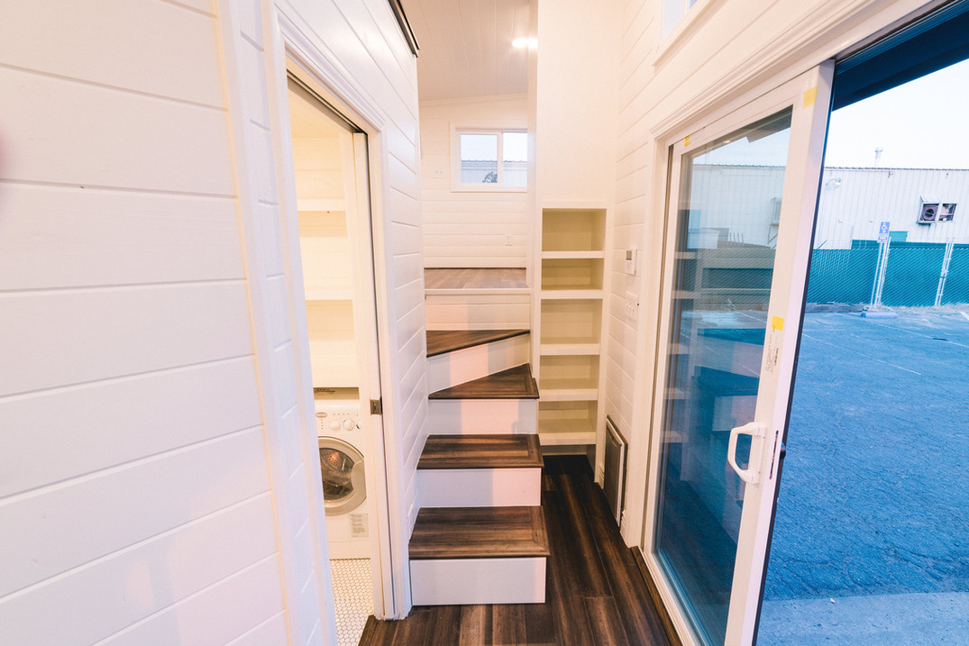 10' wide tiny house with sliding glass doors